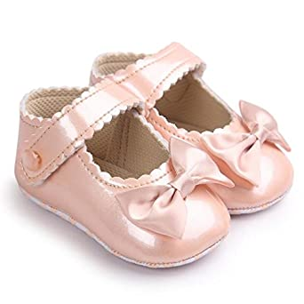 Baby Girl Bowknot Leater Shoes Sneaker Anti-slip Soft Sole Toddler