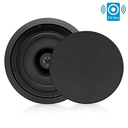 Pyle PDIC81RDBK, 8'' Ceiling Wall Mount Speakers - Pair of 2-Way Midbass Woofer Speaker 1/2'' Polymer Dome Tweeter Flush Design w/ 50Hz - 20kHz Frequency Response & 250 Watts Peak Easy Installation 8' Two Way Plate