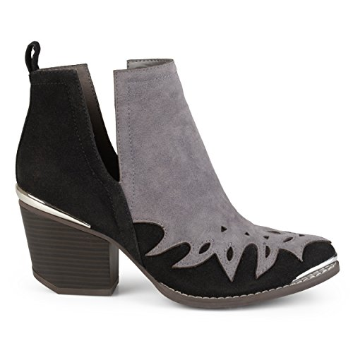 Brinley Co Womens Faux Suede Two-Tone Western Side Slit Booties Grey