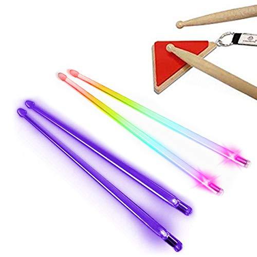 Multi-Sensory Musical Instrument Pack - Pyramid Drum Pad Red w/ Rainbow Light Up Drumsticks -1 Pair Rainbow Sticks & 1 Pair Purple Sticks