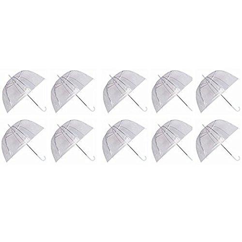 9031bba8a Ardisle Set of 10 Rain Umbrellas Dome Birdcage Clear Transparent PVC  Plastic Wedding: Amazon.co.uk: Clothing