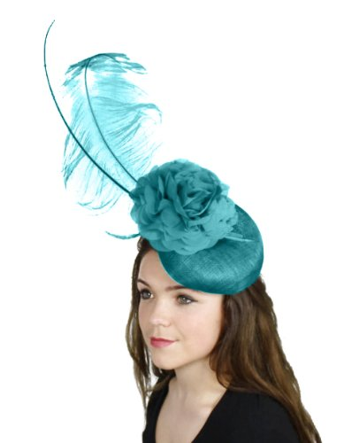 [Hats By Cressida Salty Dog Sinamay Ascot Fascinator Hat Women's With Headband - Teal Green] (Kentucky Derby Costumes For Dogs)