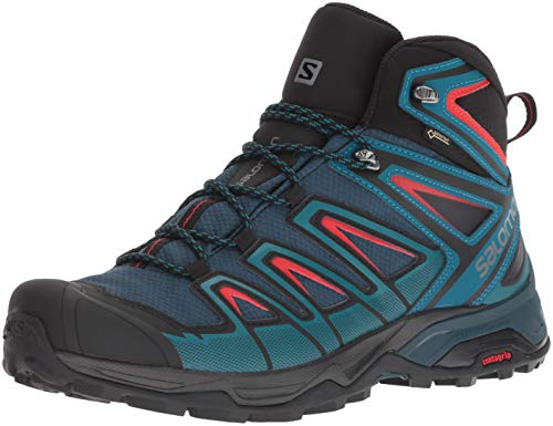 Salomon Men's X Ultra 3 Mid GTX Hiking Boot, Reflecting Pond/deep Lagoon/high Risk red, 8.5 D US