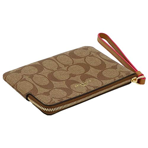 Coach Crossgrain Leather Corner Zip Wristlet Wallet (Khaki Neon Pink) by Coach (Image #3)