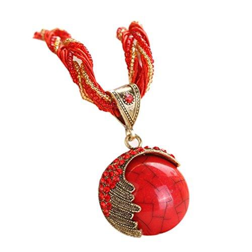 Collar Rhinestone Gem Pendant Necklace for Women Teen Girls Cuekondy Retro Bohemian Wrap Rope Statement Jewelry (Red) - Rope Set Cross
