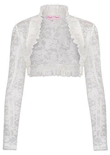 Women's Lace Cropped Open Shrug Bolero Ivory Size XL - Lace Long Sleeve Wrap