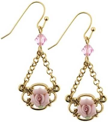 1928 Jewelry Pink Porcelain Rose Petite Drop Earrings