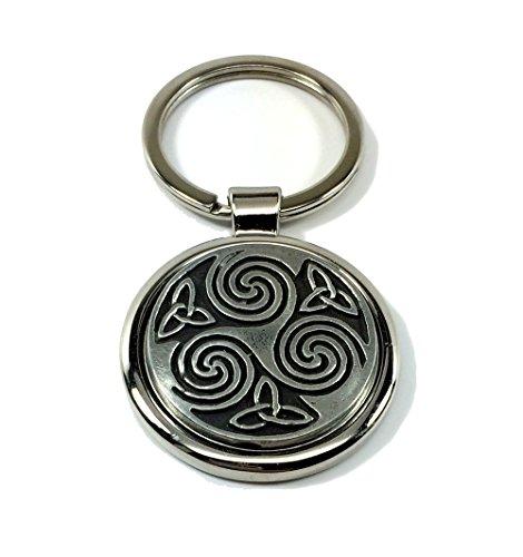 Engraved Pewter Medallion (Celtic Spiral Keychain Irish Key Ring Pewter)