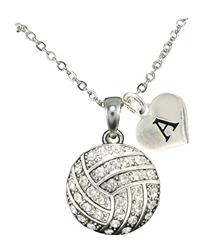Custom Crystal Volleyball Silver Chain Necklace Choose Initial Charm All 26 (Necklace Crystal Sport)
