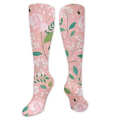 DanontKery Honeybee Floral Flowers Botanical Rose 3D Printing Cool Athletic Socks Sports Socks Compression Socks Football Socks Long Socks Knee High Socks for Boys Girls Kids Toddler