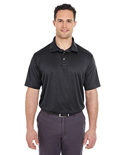 UltraClub Men's Cool & Dry Jacquard Stripe Polo , Black, Small. (Pack of 5) by UltraClub