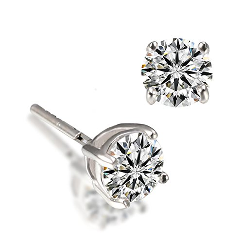 [VEECANS 18K Platinum or Yellow Gold Swarovski Elements Zirconia Round-cut Fashion Stud Earrings for Women Girls (platinum-plated)] (Balls To The Wall Costume)