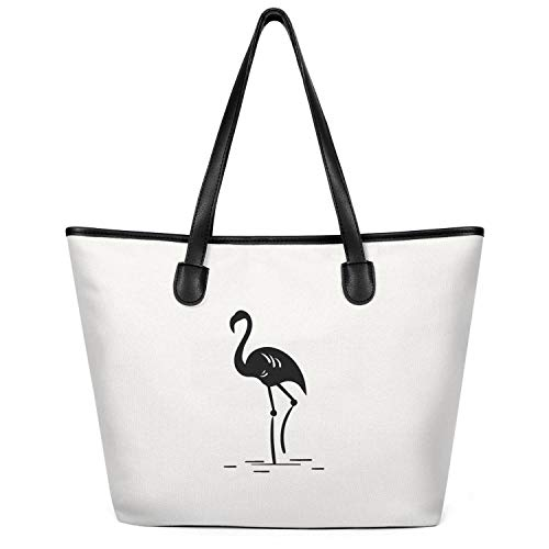 - Ladies Black-and-White-Pink-Flamingo-Tattoo- Canvas Shopping Tote Bag Large Capacity Tote Foldable Daily Working Handbag Creamy-White