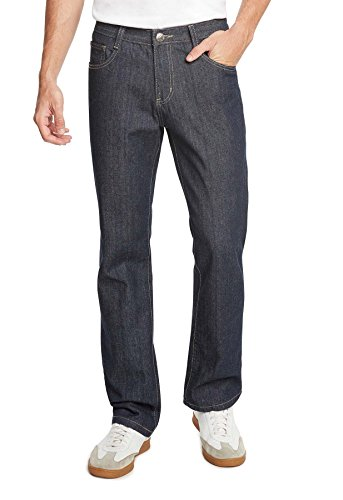 9 Crowns Essentials Men's Straight Fit Dark Wash Denim Jeans-Raw Blue-30 X 32 - Classic Raw Denim