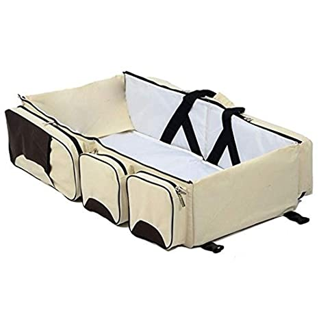 Cikuso Baby 3 in 1 Multi-Functional Diaper Bags Travel Bassinet - Portable Bassinet & Changing Pad Station, Navy Blue
