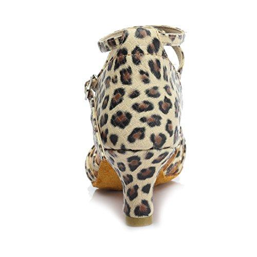 Chaussures De Danse Latine Hroyl Femmes Satin Salle De Bal Modèle-213 Leopard1