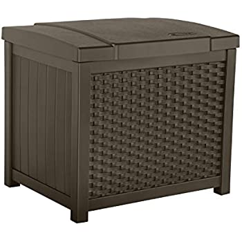 Suncast SSW900 Lightweight Resin Indoor/Outdoor Storage Container and Seat Cushions and Gardening Tools Store Items on Patio, Garage, Yard, 22 Gallon, Mocha Wicker