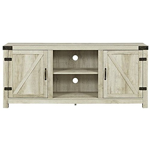 WE Furniture W58BDSDWO Barn Door TV Stand, 58