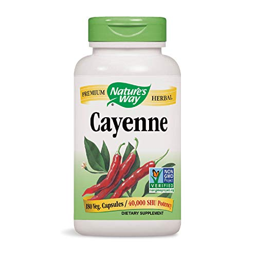 Nature's Way Cayenne 40,000 SHU Potency, 180 Vegetarian Capsules, Pack of 2