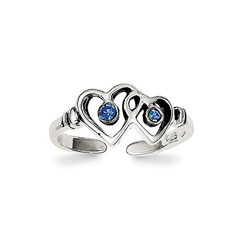 Solid 925 Sterling Silver Antiqued-Style Blue CZ Cubic Zirconia Heart Toe Ring (2mm) - Heart Solid Toe Ring