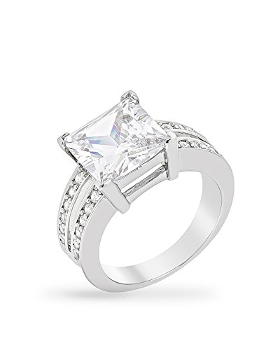 Kate Bissett Genuine Rhodium Plated Princess Ring with 6 Carat Clear Cubic Zirconia and Dual Pave Shoulders Size 7 from Kate Bissett