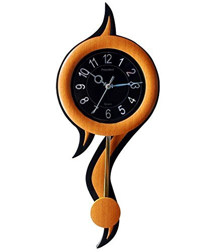 Black Sunburst Roman Dial (President Pendulum Wall Clock With Maple Wood Color Frame,Black Dial By AQeeq Accessories Size:17 Inches)