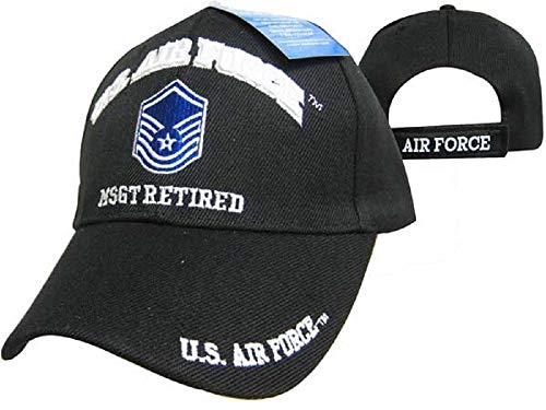 U.S. Air Force MSGT Retired Black USAF Embroidered Ball Cap Hat 540B
