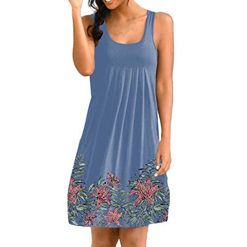 Handyulong Women Dresses Casual Plain Loose Swing Beach Midi Dress Basic Tunic Tank Dress Sun Dress for Teen Girls ()