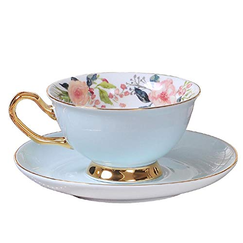 (ACOOME Tea Cup and Saucer Set-6.8oz Bone China Green Teacup Fine Dining and Table Decor (Blue))