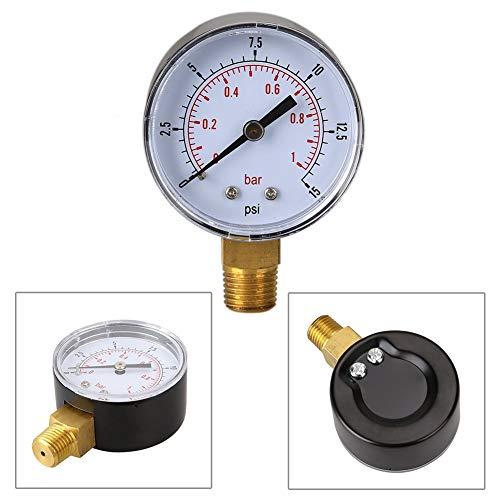 Bar Pressure Gauge - 50mm 0 15 Psi 1 Bar Pressure Gauge Fuel Air Compressor Meter Hydraulic Tester Manometer Double Scale - Home Pump System Meter 2-1/2 Mount Panel Duty Large Threads Fire Liq