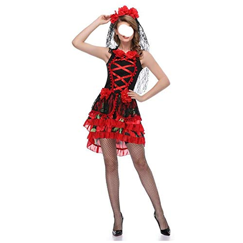 Stylish Halloween costumes, gorgeous and festive Halloween costumes Ladies Halloween Costume Ghost Bride Uniform Mexican Undead Festival Fancy Dress Party Costume COS Vampire Costume Comfortable, ()