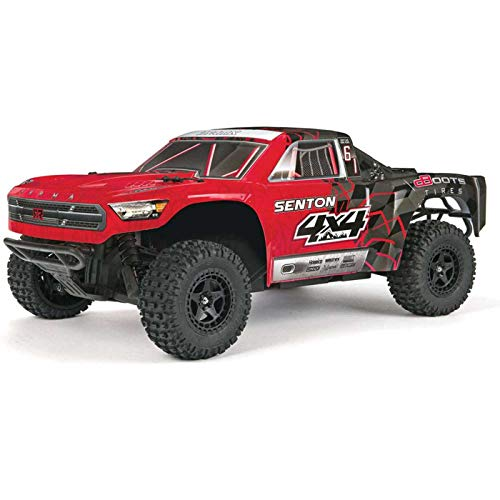10th Scale Stadium Truck - Arrma SENTON 4x4 MEGA Electric RC RTR Remote Control 4WD Short Course SC Truck with 2.4GHz Radio, 7C 2400mAH NiMH, Charger, 1:10 Scale (Red/Black)