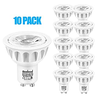Boxlood GU10 LED Bulbs Dimmable, 50W Halogen Equivalent, 2700K Soft Warm White, 5W, 120 Volt, 450lm, 36 Degree Beam Angle, GU10 Base, 90% Energy Saving, Recessed Track Light Bulb, 10-Pack