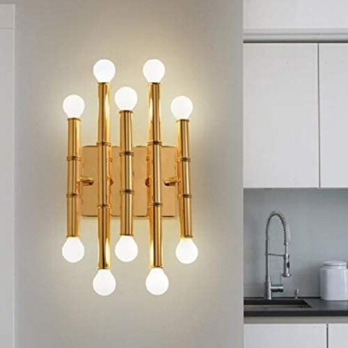 JINGLIANG Lampada da parete in acciaio inox di bambù coperta Soggiorno Corridoio Camera di albergo Illuminazione (oro) una (Color : Black) Black