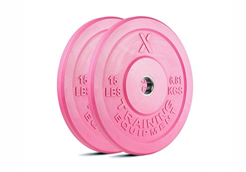 15lb Pink Bumper Plate Pair Solid Rubber with Steel Insert - Great for Crossfit Workouts - (2 X 15 Lb Pound Pink Plates)
