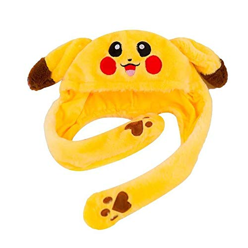 Cute Animal Hat Funny Plush Cosplay Bunny Head Pikachu Hat with Ear Popping up When Press The Claw (Yellow)