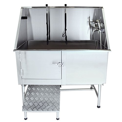 Flying Pig Grooming 50' Stainless Steel Pet Dog Bath Tub with Faucet (Left Door/Right Drain), 50 x...