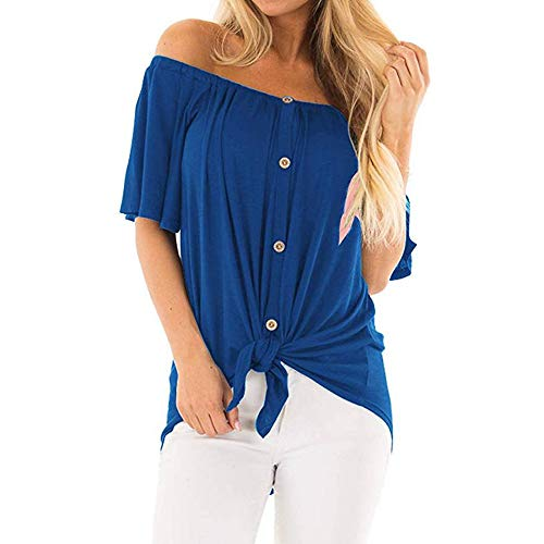 PYL Women's Casual Off The Shoulder Front Tie Button Up Shirts Long Sleeve Loose Tunic Blouse Tops Blue ()