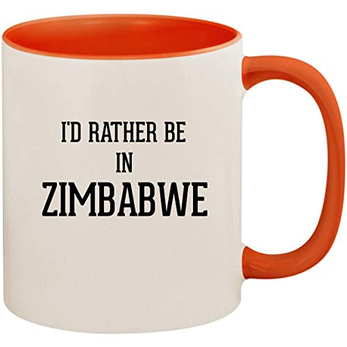 I'd Rather Be In ZIMBABWE - 11oz Ceramic Colored Inside and Handle Coffee Mug Cup, Orange