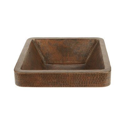 (Premier Copper Products Square Skirted Vessel Hammered Copper Sink)
