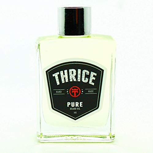 Thrice Pure Unscented Beard Oil - 2 oz- All Natural Leave in Conditioner for Beard Growth - Beard Oil for Men - Best Beard Grooming Practices for Hair Growth Conditioning and Skin Care