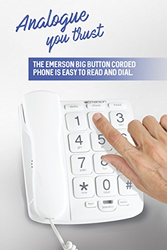 Emerson EM300WH Big Button Phone for Elderly Seniors [Improved Version with Longer Wire] Landline Corded Phone with Speakerphone