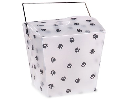 Pack of 12, Large Frosted Plastic Paw Print Take Out Pails 4 x 3-1/2 x 4