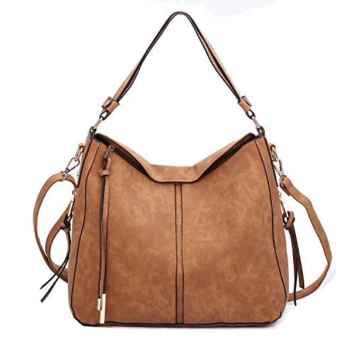 (GLITZALL Handbags for Women Faux Leather Large Hobo hand bags Crossbody Bucket Purse (Brown))