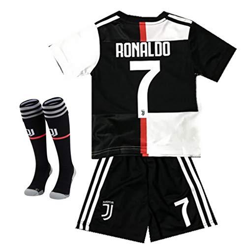2019-2020 Season Juventus #7 Ronaldo Kids Or Youth Home Soccer Jersey & Shorts & Socks Black/White 13-14Years/Size ()