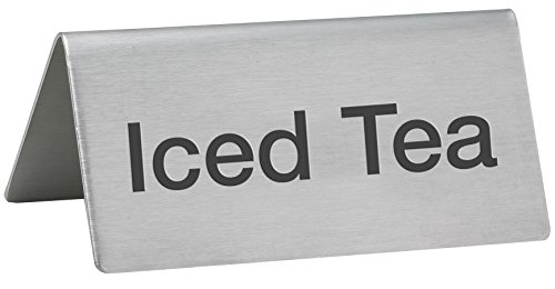 LeRose Stainless Steel Tent Signs ~ Set of 5 ~''Coffee'',''Decaf'', Hot Water'',''Hot Tea'',''Iced Tea'' ~ 3'' x 1-1/2'' Beverage Table Display Tent Signs by LeRose (Image #5)