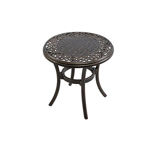 Hampton Bay APH03715K01 Niles Park 18 in. Round Cast Top Patio Side Table