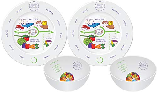(Bariatric Surgery Bowl And Plate Set In Porcelain (2 Measuring Bowls & Plates) By Portion Plate Perfection Dietitian Helps Avoid Weight Regain After Gastric Bypass, Sleeve Gastrectomy Or Lapband)