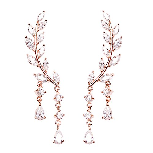 EVERU CZ Vine Jewelry Sweep Wrap Crystal Rose Gold Plated Leaf Ear Cuffs Set Stud Earrings for Women by EVERU