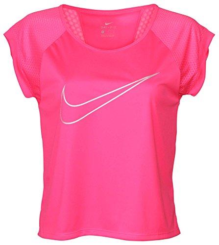 Nike Crop Top (NIKE Women's Dri-Fit Run Fast Running Top-Hot Pink-XS)